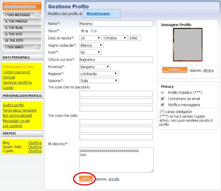 gestisci le informazioni personali della tua pagina di profilo