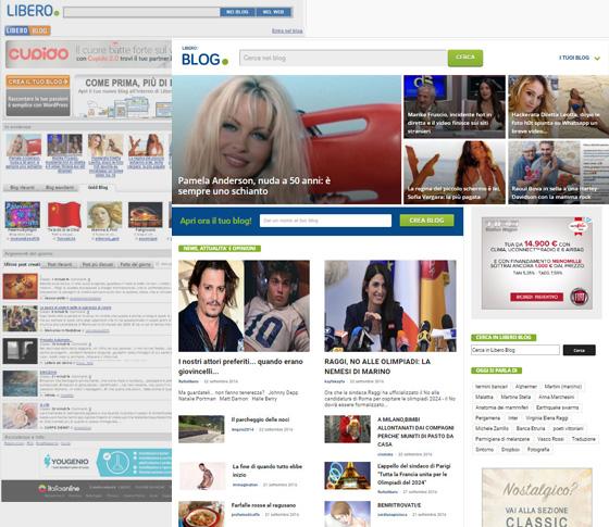 nuova pagina di ingresso ai blog di Libero
